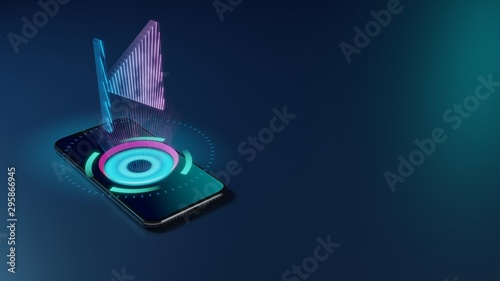 3D rendering neon holographic phone symbol of stop back left icon on dark backgr Tablou Canvas