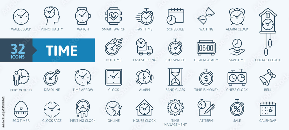 Fototapety, obrazy: Time - minimal thin line web icon set. Outline icons collection. Simple vector illustration