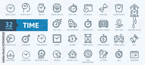 Time - minimal thin line web icon set Fototapeta