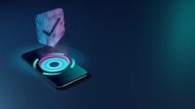 3D Rendering Neon Holographic Phone Symbol Of Been Here Marker Icon On Dark Background