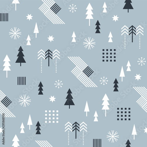 obraz lub plakat Seamless Christmas pattern with stylized snowflakes, trees, geometric shapes, fabric design or gift paper, wrapping print