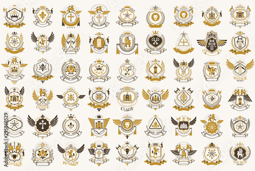 Classic style emblems big set, ancient heraldic symbols awards and labels collection, classical heraldry design elements, family or business emblems Fototapete