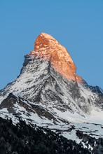East And North Faces Of The Matterhorn During Sunrise In Zermatt, Switzerland.