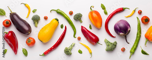 Assortment of fresh vegetables for healthy nutrition on white - 295871316
