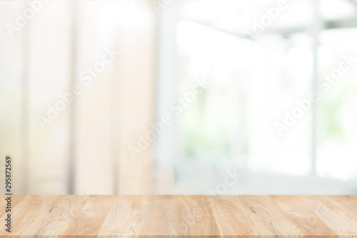 Fotografie, Tablou  Empty wooden table and window room interior decoration background, product montage display,can be used for display or montage your products