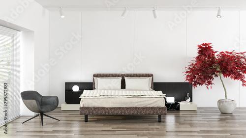 Modern bright bed room interiors 3D rendering illustration computer generated im Tapéta, Fotótapéta