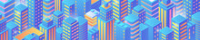 Isometric Flat Skyscrapers City Buildings Pattern Background Vector Design.