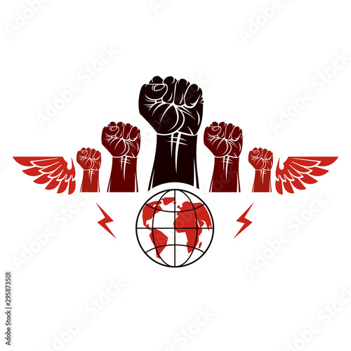 Clenched fists of angry people winged vector emblem composed with Earth globe symbol Canvas-taulu