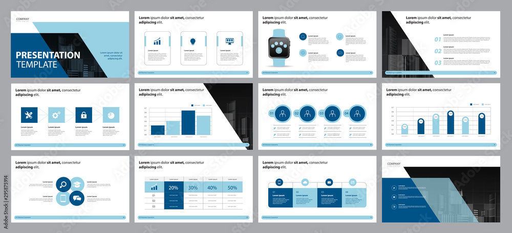Fototapeta  business presentation design template and page layout design for brochure, annual report with info graphic  elements design concept