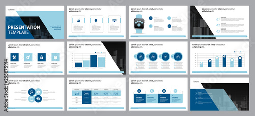 Fototapeta  business presentation design template and page layout design for brochure, annual report with info graphic  elements design concept obraz