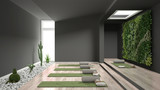 Empty yoga studio interior design, open space with mats, pillows and accessories, parquet, vertical garden and succulent plants with pebbles, ready for yoga practice, meditation room