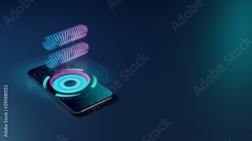 3D rendering neon holographic phone symbol of equal  icon on dark background Tablou Canvas