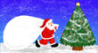 Leinwanddruck Bild - Santa Claus and a christmas tree in the silent night 聖夜のサンタクロースとクリスマスツリー