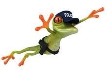 Fun 3D Cartoon Frog Police Officer