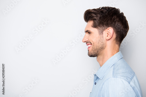 Cuadros en Lienzo Profile side photo of charming satisfied positive man enjoy weekends have fun wi