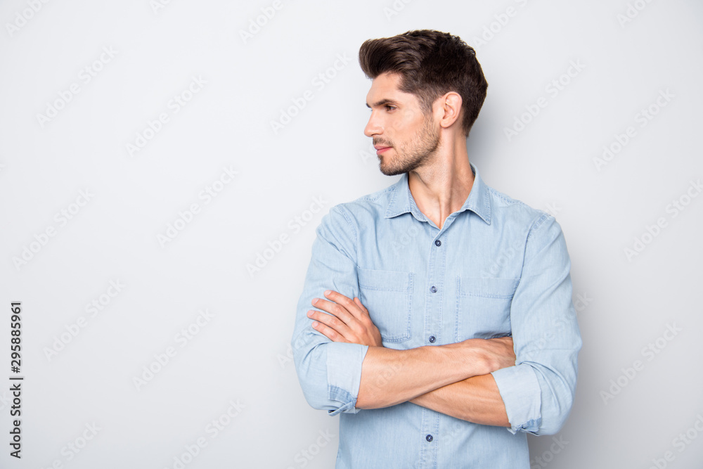 Fototapeta Profile side close up photo of focused confident man look copyspace feel reliable ready to solve problem on enterprise wear denim jeans style outfit isolated over grey color background