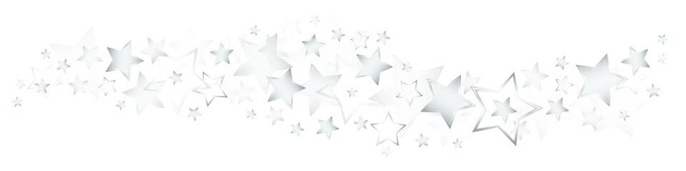 Glänzende Silberne Sterne Bordüre