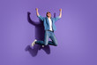 canvas print picture - Full length body size photo of screaming shouting rejoicing overjoyed guy ecstatic about his victory jumping for sales isolated over violet vivid color background