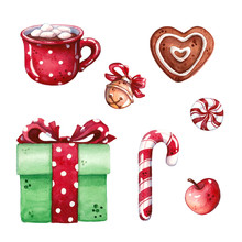 Hand Drawn Watercolor Illustration Set Of Heart Shaped Gingerbread, Hot Chocolate With Marshmallow In Mug, Apple, Candy Cane And Gift Box Isolated On White - Christmas And Winter Holidays
