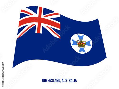 Queensland (Qld) Flag Waving Vector Illustration on White Background. States Flag of Australia.