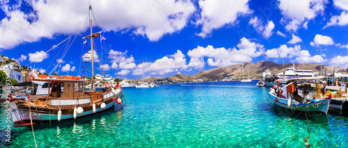 Foto auf Gartenposter Flieder Wonderful traditional Greece - beautiful Leros island in Dodecanese, Agia Marina fishing village and port