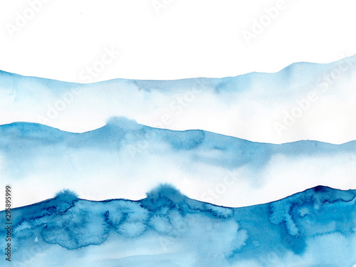 Fond de hotte en verre imprimé Abstract wave Watercolor blue winter snowing background, Look like wave and sea. Original painting on watercolour paper. Illustration for decoration element. Backdrop with ocean water. Minimalism, monochromatic