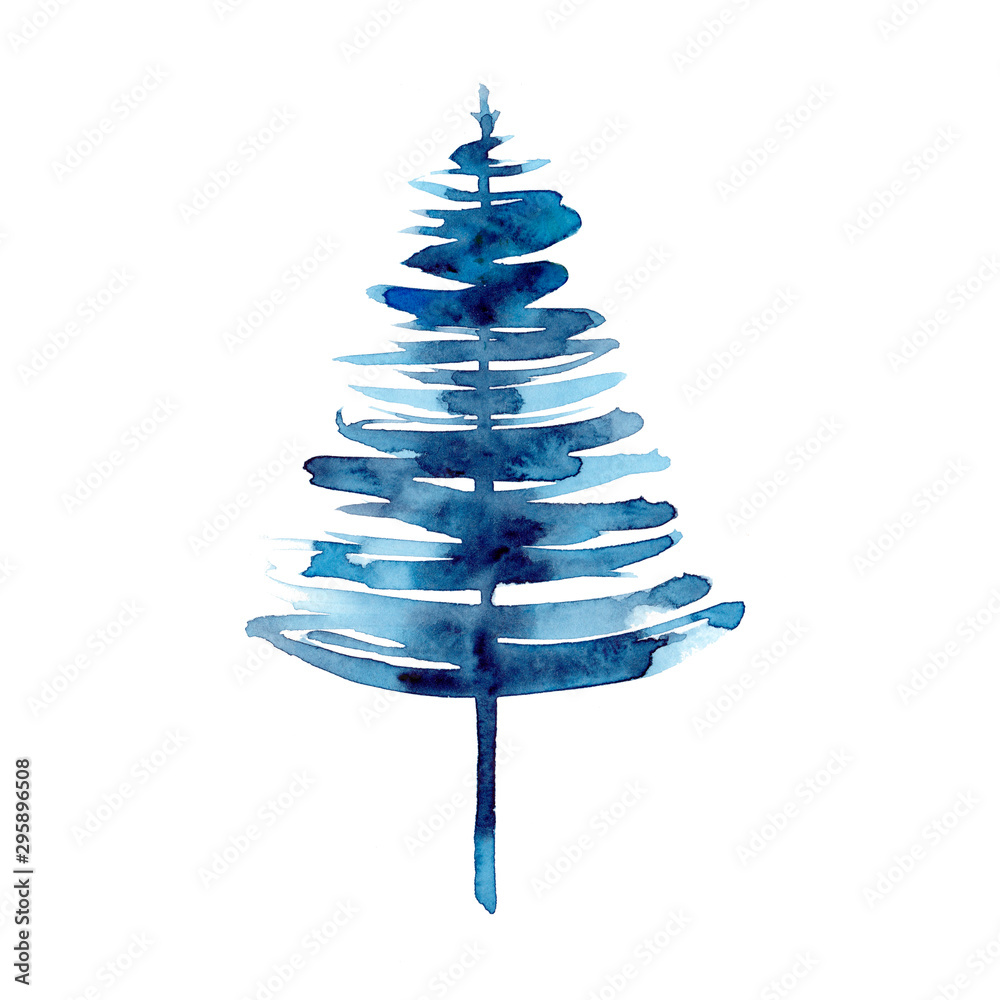 Fototapety, obrazy: Watercolor winter blue christmas tree isolated on white background. Hand painting Illustration for print, texture, wallpaper or element. Beautiful watercolour art. Minimal style