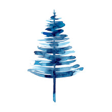 Watercolor Winter Blue Christm...