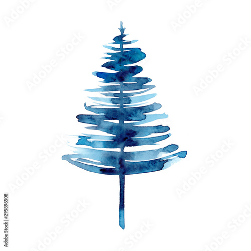 Watercolor winter blue christmas tree isolated on white background. Hand painting Illustration for print, texture, wallpaper or element. Beautiful watercolour art. Minimal style