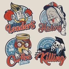 Vintage College Funny Colorful Badges
