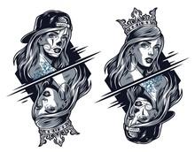 Chicano Girls Wearing Crown And Baseball Cap