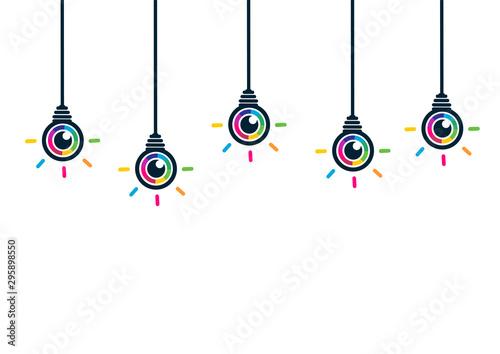 Wizja i pomysł. Kolorowy biznesowy żarówka biznesu pojęcie.