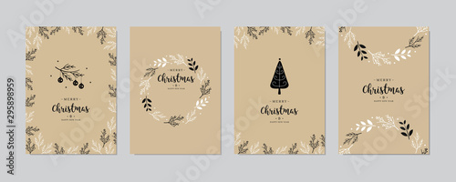 Obraz Set of christmas and happy new year greeting cards with lettering calligraphy decorative ornament elements. - fototapety do salonu
