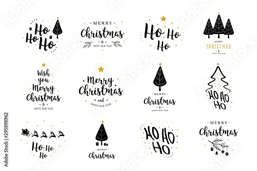 Merry Christmas. Happy New Year, typography lettering badge emblems quotes set collection. Vector logo design for postcard, invitation, greeting card, poster, gift.