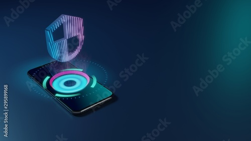 Foto  3D rendering neon holographic phone symbol of shield icon on dark background