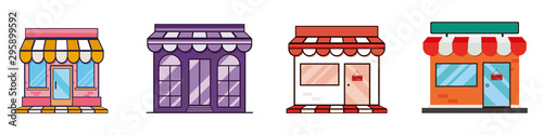 Valokuvatapetti Shops and stores icons set in flat design style