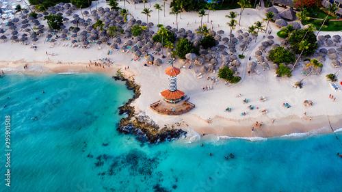 Cuadros en Lienzo Dominican Republic Bayahibe beach Lighthouse aerial photo by drone