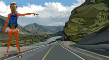 Cartoon Sexy Girl Hitchhiking On A Highway In A Mountainous Area