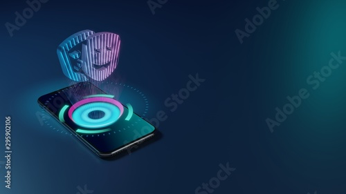 3D rendering neon holographic phone symbol of theater masks icon on dark backgro Fototapet