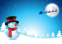 Snowman Say Goodbye To Santa Claus After Receive Gift With Happiness,vector Illustration