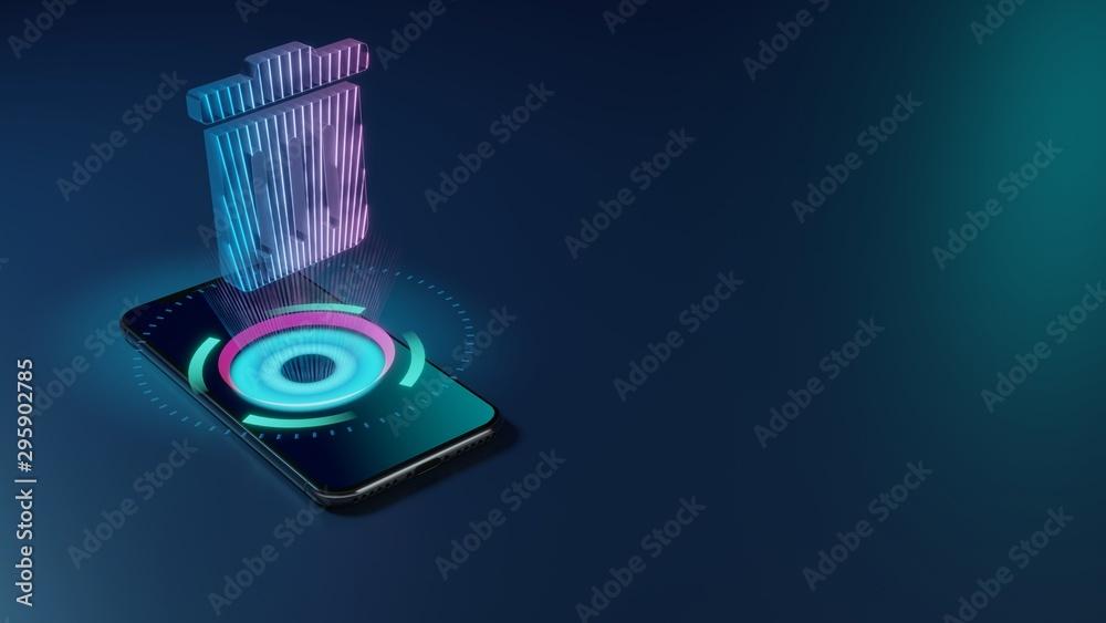 Fototapety, obrazy: 3D rendering neon holographic phone symbol of trash alt icon on dark background