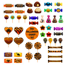Set Halloween Sweets Colorful With Halloween Characters And Elements