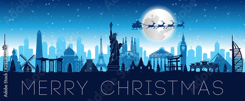 Leinwand Poster santa claus fly over world famous landmark to send gift to everyone,vector illus