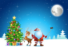 Santa Claus Selfie With Deer And Christmas Tree Before Send Gift To People,vector Illustration