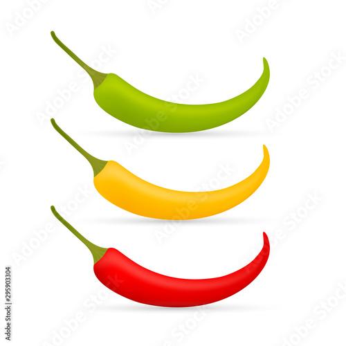 Hot chilli pepper vector set isolated on white background Wallpaper Mural