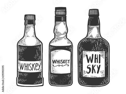 Photo Whisky whiskey bottles flasks sketch engraving vector illustration