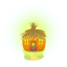 Vector Image Of A Mouse House In The Form Of A Pumpkin With A Thatched Roof And Carved Windows. Symbol Of 2020. Series Of Illustrations. Calendar Item