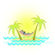 Vector Image Of A Mouse On A Hammock Between Palm Trees By The Sea. Symbol Of 2020. Series Of Illustrations. Calendar Item