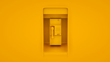 Public Payphone Isolated On Yellow Background. 3d Illustration