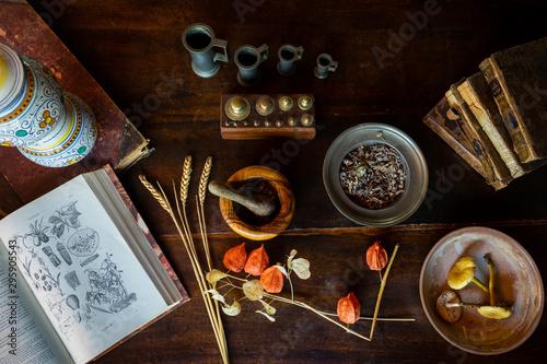 un vieux livre avec des illustrations de plante et les accessoires pour des préparations pharmaceutiques #295905543